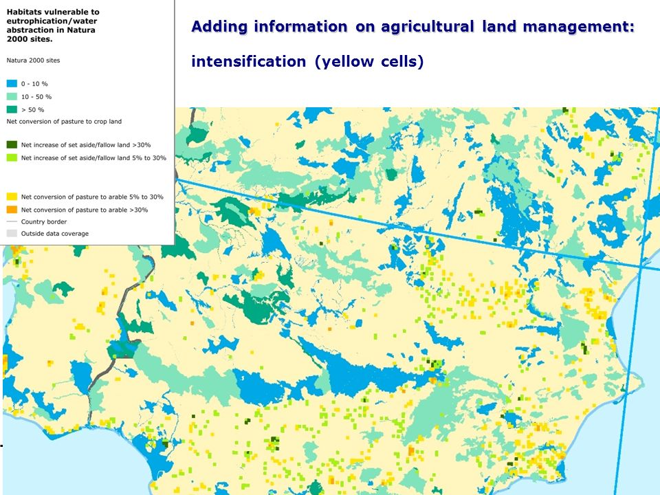21 Adding information on agricultural land management: Adding information on agricultural land management: intensification (yellow cells)