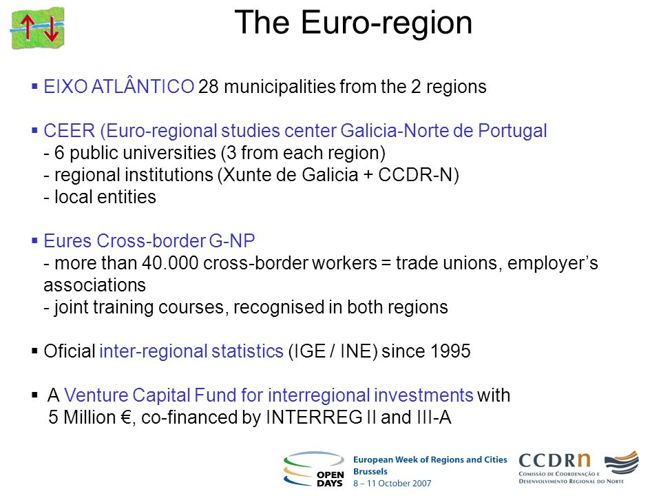 EIXO ATLÂNTICO 28 municipalities from the 2 regions CEER (Euro-regional studies center Galicia-Norte de Portugal - 6 public universities (3 from each