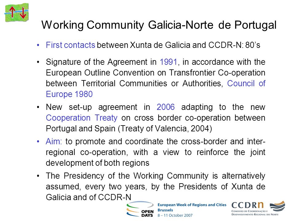 Working Community Galicia-Norte de Portugal First contacts between Xunta de Galicia and CCDR-N: 80s Signature of the Agreement in 1991, in accordance