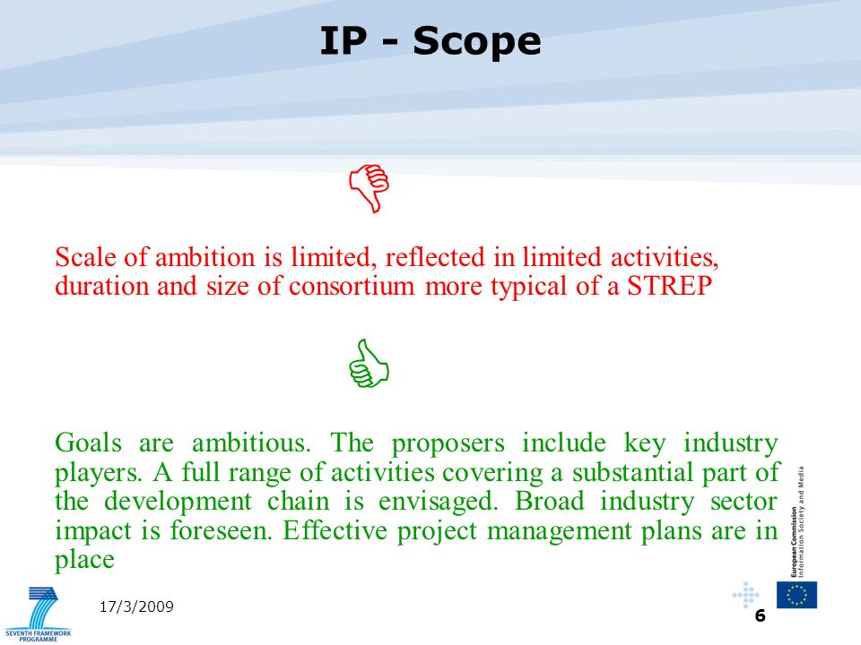 7 17/3/2009 Activities in an Integrated project will cover a broad spectrum e.g.
