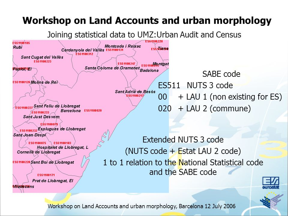 Workshop on Land Accounts and urban morphology, Barcelona 12 July 2006 Workshop on Land Accounts and urban morphology Joining statistical data to UMZ:Urban Audit and Census Extended NUTS 3 code (NUTS code + Estat LAU 2 code) 1 to 1 relation to the National Statistical code and the SABE code SABE code ES511NUTS 3 code 00+ LAU 1 (non existing for ES) LAU 2 (commune)