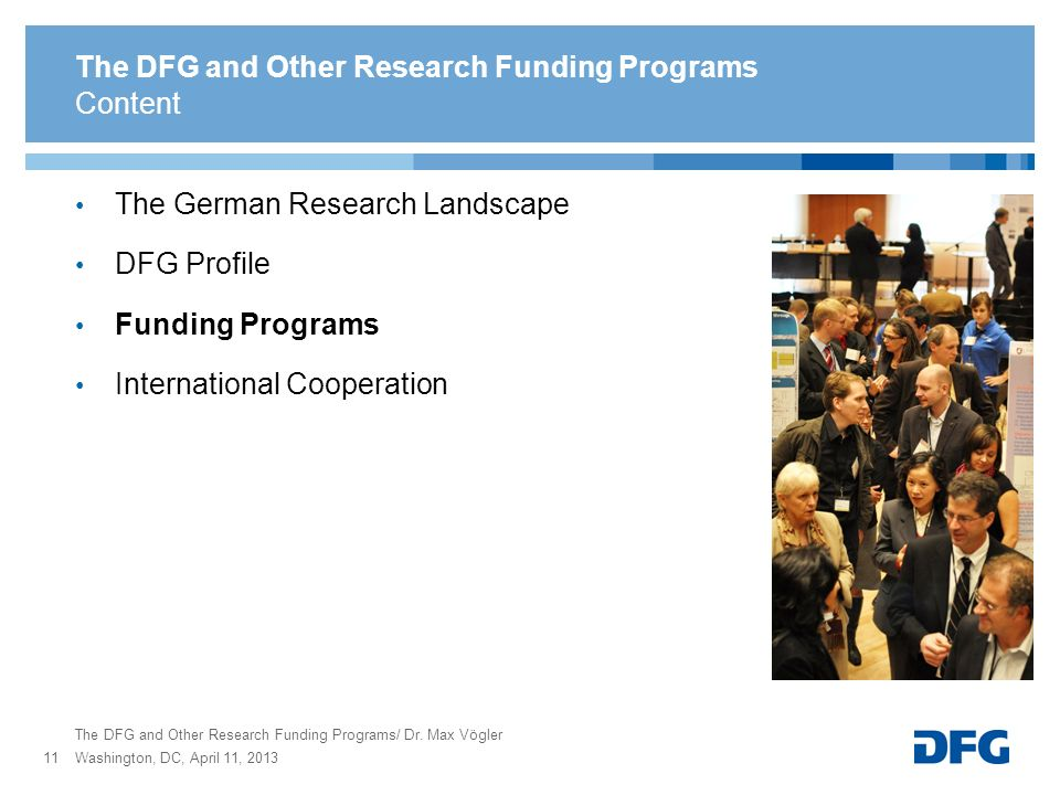 The German Research Landscape DFG Profile Funding Programs International Cooperation The DFG and Other Research Funding Programs The DFG and Other Res