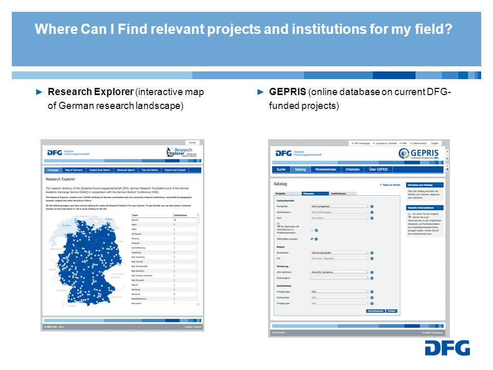 Where Can I Find relevant projects and institutions for my field? Research Explorer (interactive map of German research landscape) GEPRIS (online data