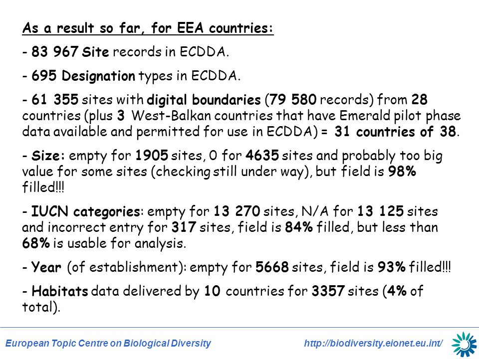 European Topic Centre on Biological Diversity http://biodiversity.eionet.eu.int/ As a result so far, for EEA countries: - 83 967 Site records in ECDDA.