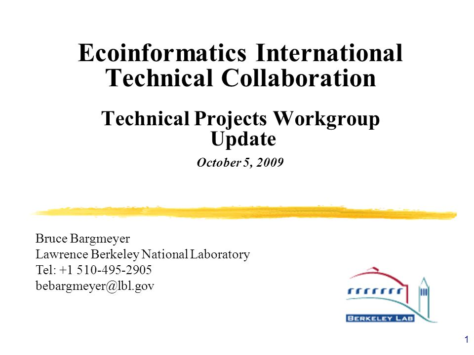 1 Ecoinformatics International Technical Collaboration Technical Projects Workgroup Update October 5, 2009 Bruce Bargmeyer Lawrence Berkeley National