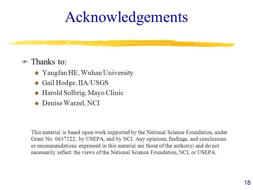 Acknowledgements F Thanks to: u Yangfan HE, Wuhan University u Gail Hodge, IIA/USGS u Harold Solbrig, Mayo Clinic u Denise Warzel, NCI This material i