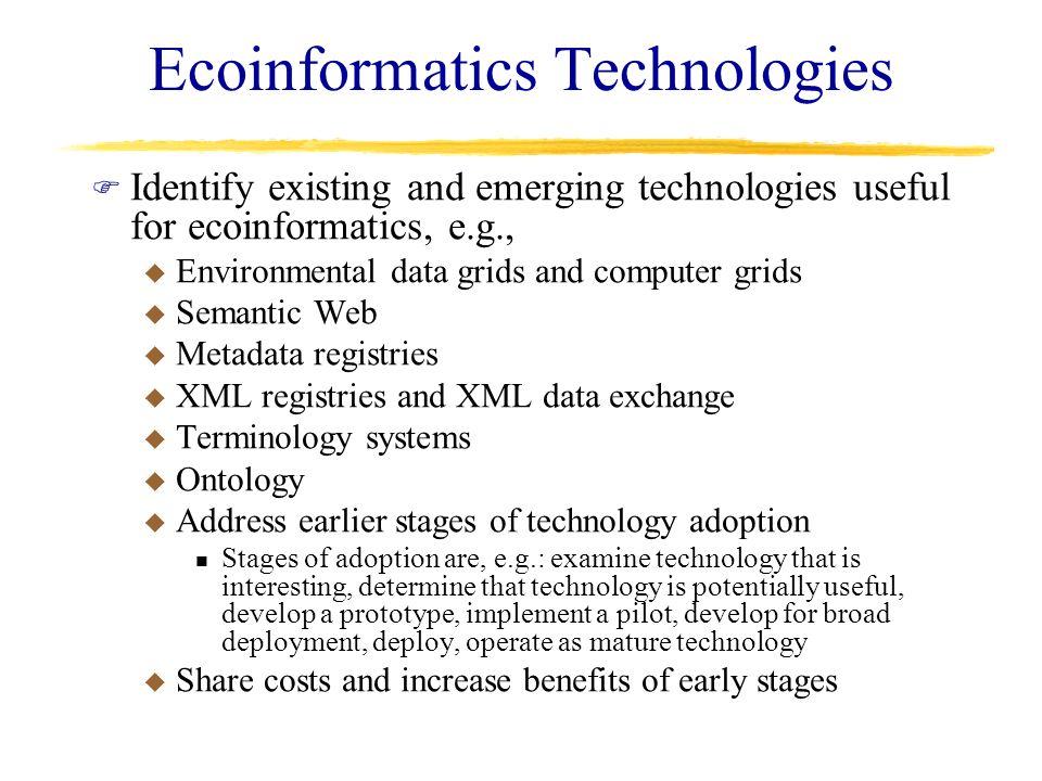Ecoinformatics Technologies F Identify existing and emerging technologies useful for ecoinformatics, e.g., u Environmental data grids and computer gri