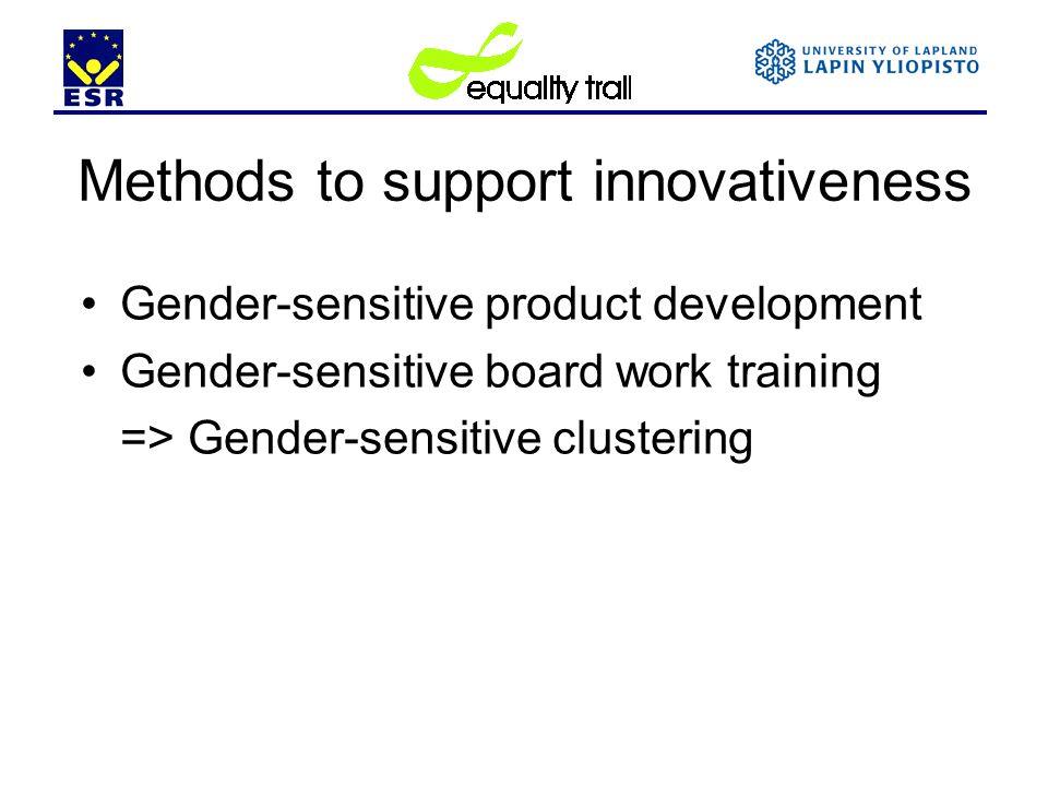 Methods to support innovativeness Gender-sensitive product development Gender-sensitive board work training => Gender-sensitive clustering