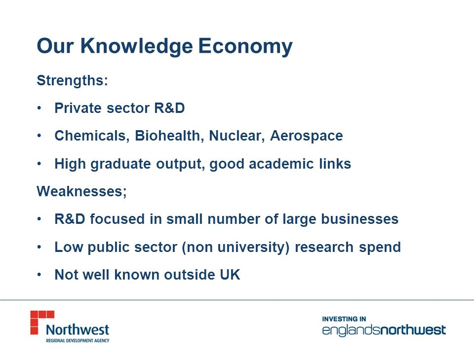Our Knowledge Economy Strengths: Private sector R&D Chemicals, Biohealth, Nuclear, Aerospace High graduate output, good academic links Weaknesses; R&D focused in small number of large businesses Low public sector (non university) research spend Not well known outside UK