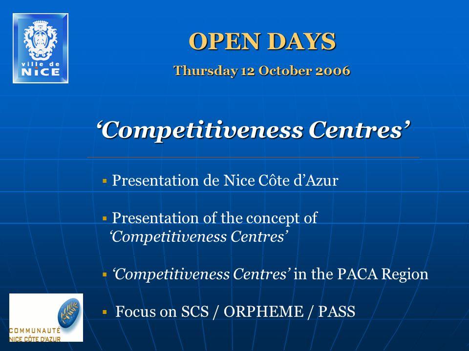 Competitiveness Centres Presentation de Nice Côte dAzur Presentation of the concept of Competitiveness Centres Competitiveness Centres in the PACA Region Focus on SCS / ORPHEME / PASS OPEN DAYS Thursday 12 October 2006