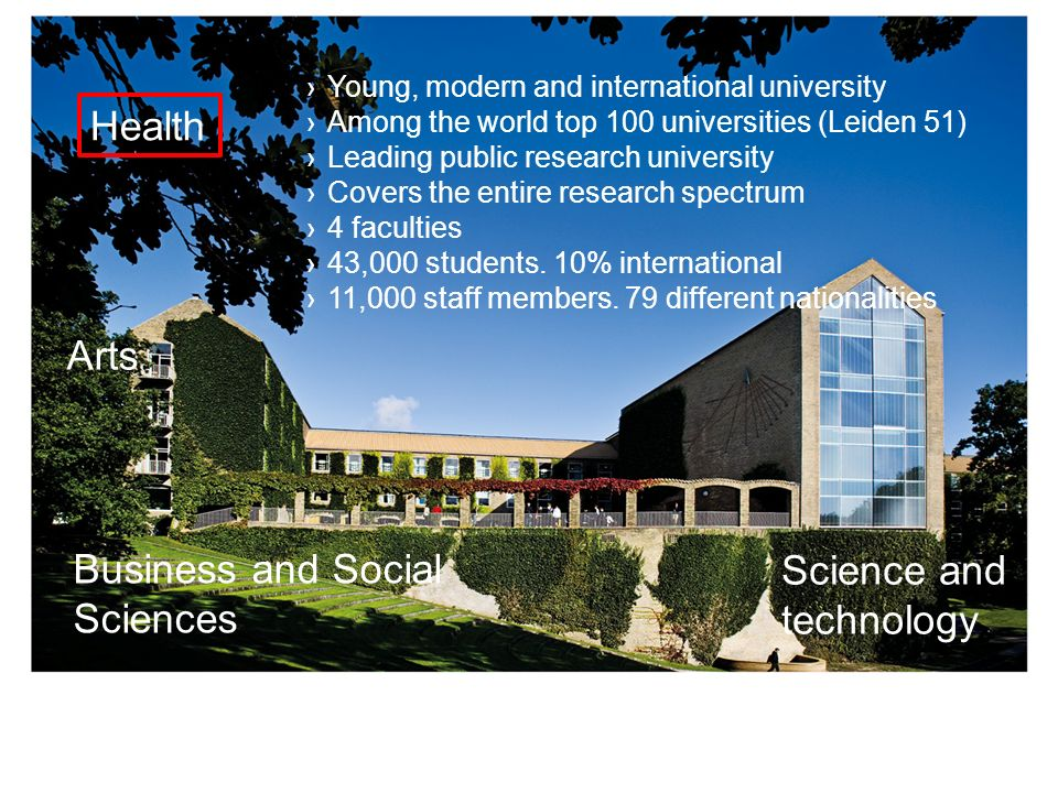 AARHUS UNIVERSITY 2 Young, modern and international university Among the world top 100 universities (Leiden 51) Leading public research university Cov