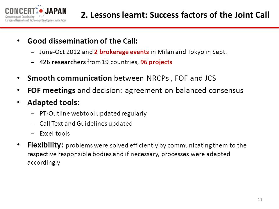 Good dissemination of the Call: – June-Oct 2012 and 2 brokerage events in Milan and Tokyo in Sept. – 426 researchers from 19 countries, 96 projects Sm