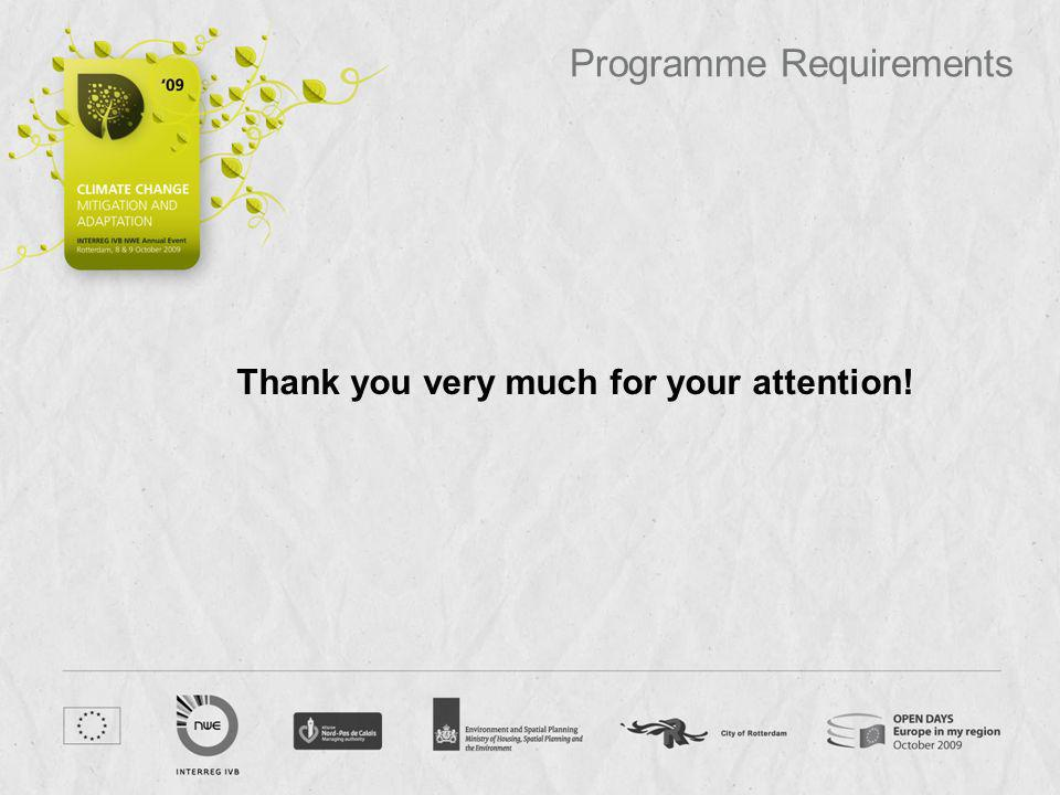 Programme Requirements Thank you very much for your attention!