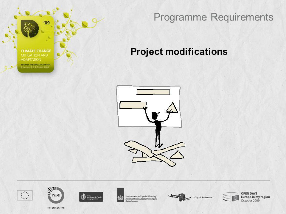 Project modifications Programme Requirements