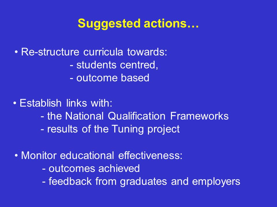 Suggested actions… Monitor educational effectiveness: - outcomes achieved - feedback from graduates and employers Establish links with: - the National