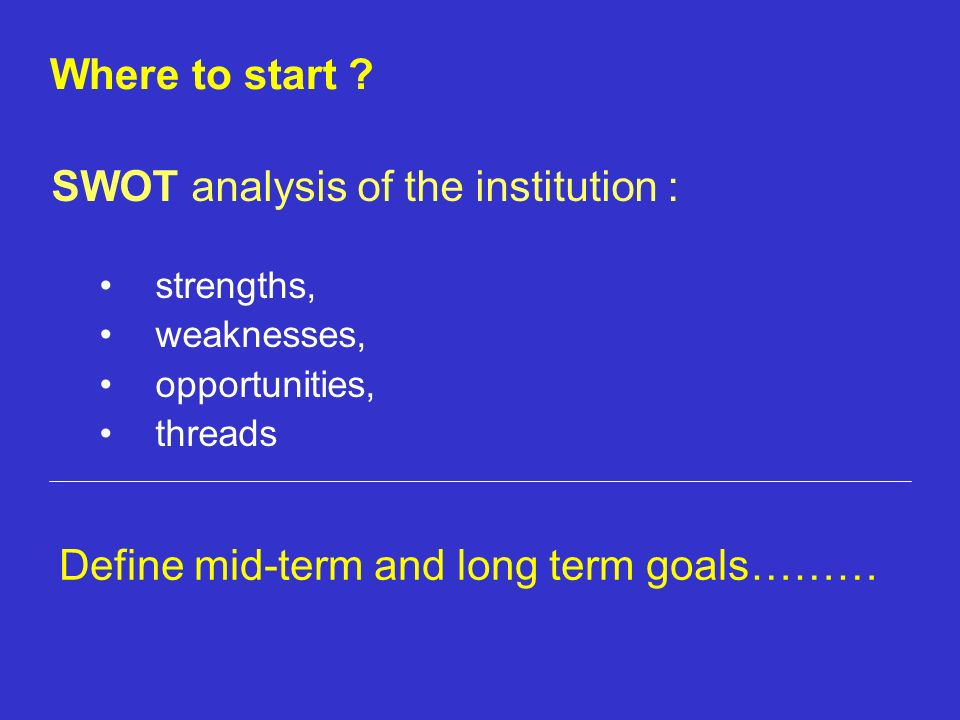 SWOT analysis of the institution : strengths, weaknesses, opportunities, threads Where to start ? Define mid-term and long term goals………