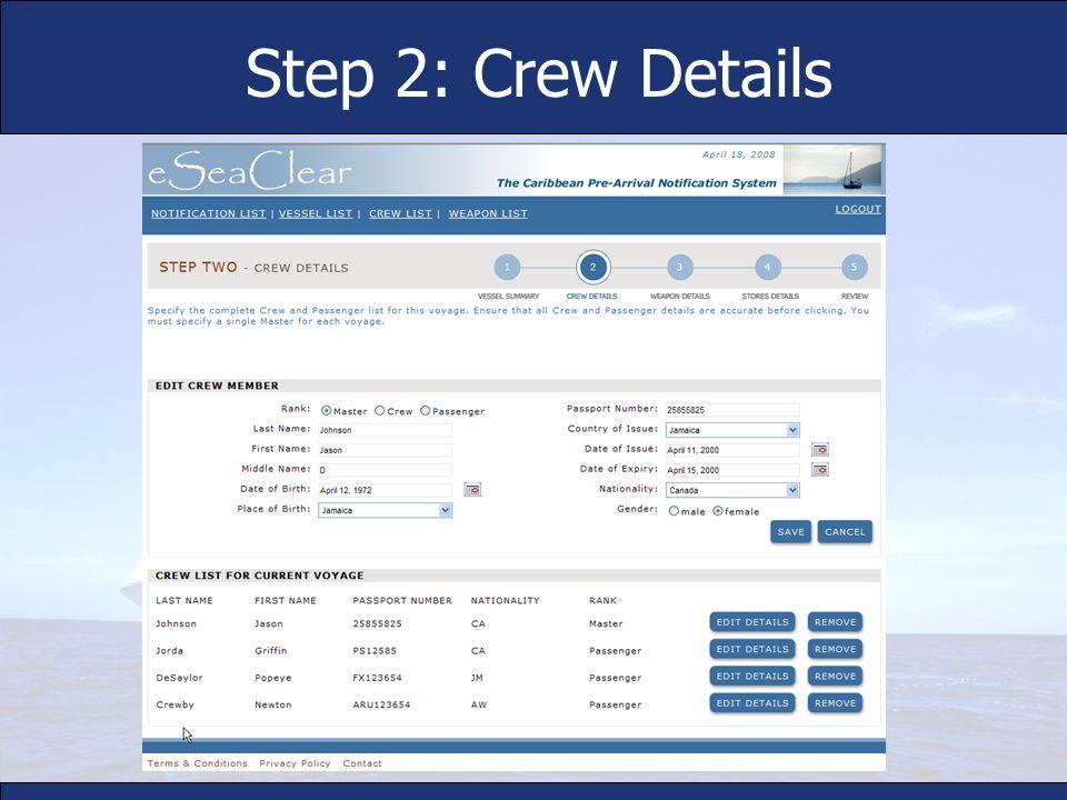 Step 2: Crew Details