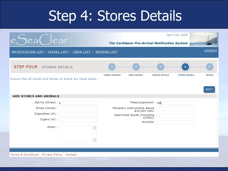 Step 4: Stores Details