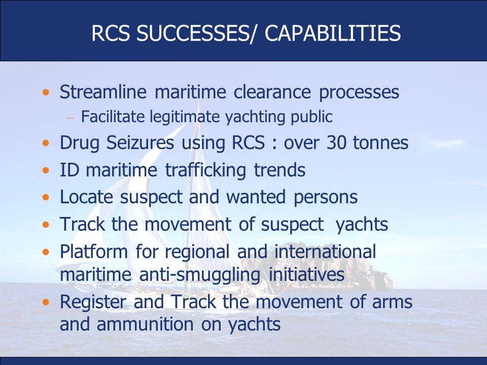 Streamline maritime clearance processes – Facilitate legitimate yachting public Drug Seizures using RCS : over 30 tonnes ID maritime trafficking trend