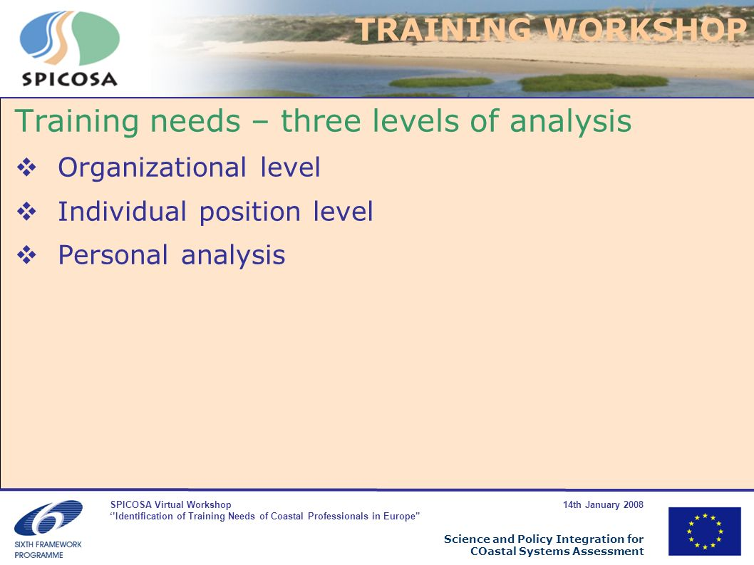 SPICOSA Virtual Workshop 14th January 2008 Identification of Training Needs of Coastal Professionals in Europe Science and Policy Integration for COastal Systems Assessment Training needs – three levels of analysis Organizational level Individual position level Personal analysis TRAINING WORKSHOP