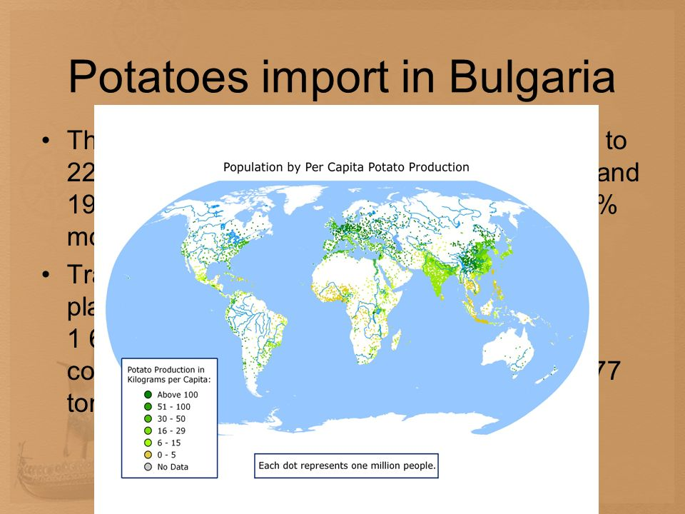 Potatoes import in Bulgaria The import of fresh potatoes in 2009 adds up to 22 001 tons (including 2 528 tons for sowing and 19 473 tons for consumpti