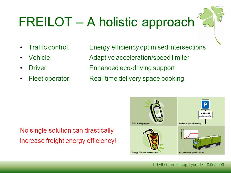 FREILOT workshop, Lyon 17-18/06/2009 Traffic control:Energy efficiency optimised intersections Vehicle:Adaptive acceleration/speed limiter Driver:Enha