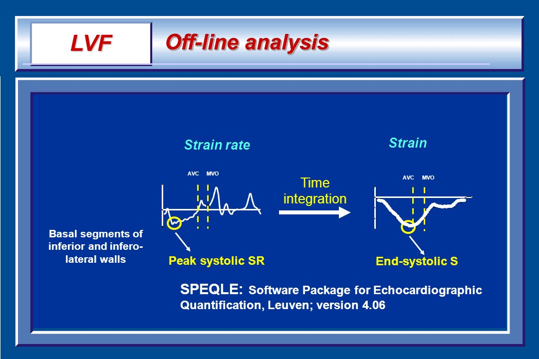Basal segments of inferior and infero- lateral walls AVCMVO Time integration Peak systolic SR End-systolic S Strain Strain rate AVCMVO LVF Off-line an