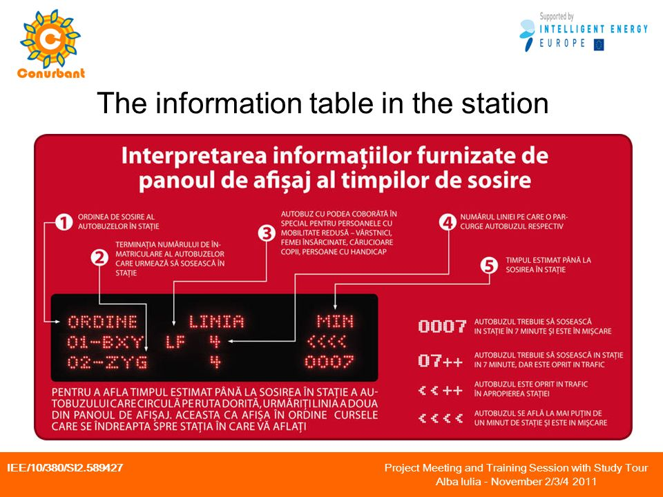 IEE/10/380/SI Project Meeting and Training Session with Study Tour Alba Iulia - November 2/3/ The information table in the station