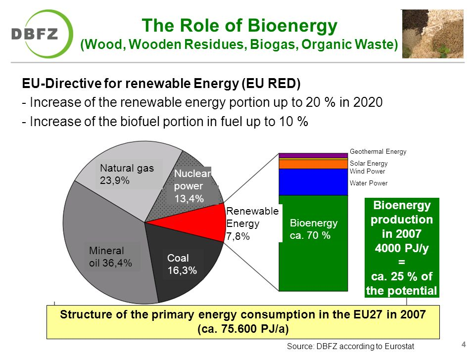IFAT 2010 The Role of Bioenergy (Wood, Wooden Residues, Biogas, Organic Waste) Source: DBFZ according to Eurostat Natural gas 23,9% Mineral oil 36,4% Coal 16,3% Nuclear power 13,4% Renewable Energy 7,8% Bioenergy ca.