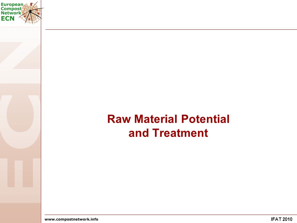 IFAT 2010 Raw Material Potential and Treatment