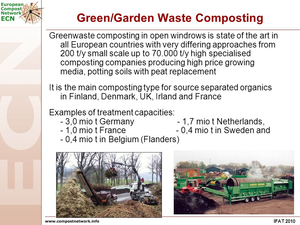 IFAT 2010 Green/Garden Waste Composting Greenwaste composting in open windrows is state of the art in all European countries with very differing approaches from 200 t/y small scale up to t/y high specialised composting companies producing high price growing media, potting soils with peat replacement It is the main composting type for source separated organics in Finland, Denmark, UK, Irland and France Examples of treatment capacities: - 3,0 mio t Germany - 1,7 mio t Netherlands, - 1,0 mio t France - 0,4 mio t in Sweden and - 0,4 mio t in Belgium (Flanders)