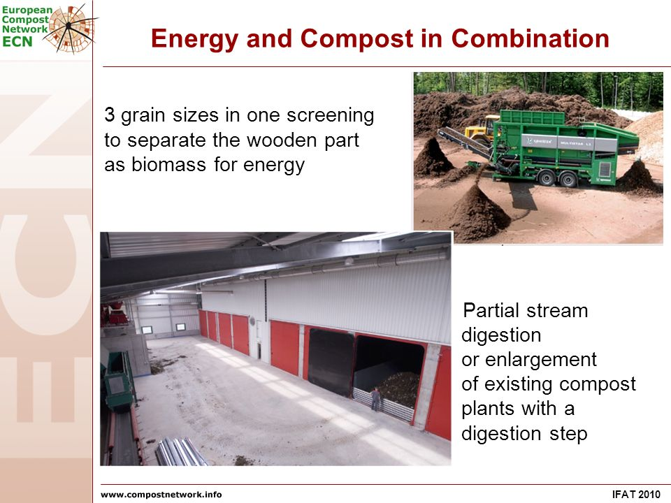 IFAT 2010 Energy and Compost in Combination 3 grain sizes in one screening to separate the wooden part as biomass for energy Partial stream digestion