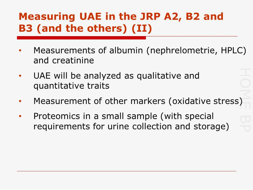 HOME BP Measuring UAE in the JRP A2, B2 and B3 (and the others) (II) Measurements of albumin (nephrelometrie, HPLC) and creatinine UAE will be analyzed as qualitative and quantitative traits Measurement of other markers (oxidative stress) Proteomics in a small sample (with special requirements for urine collection and storage)