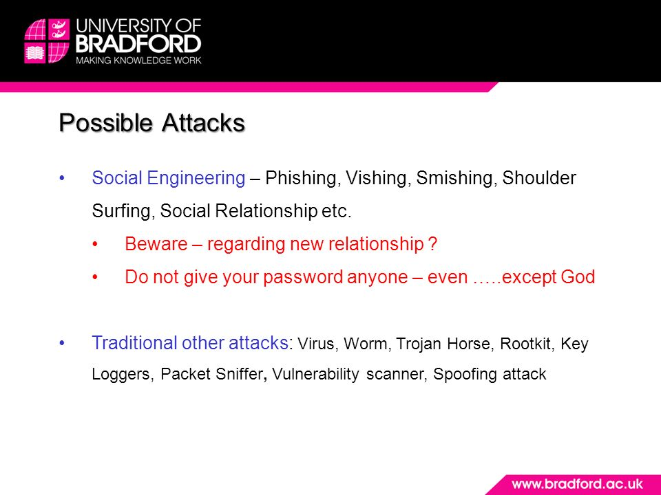 Possible Attacks Social Engineering – Phishing, Vishing, Smishing, Shoulder Surfing, Social Relationship etc.