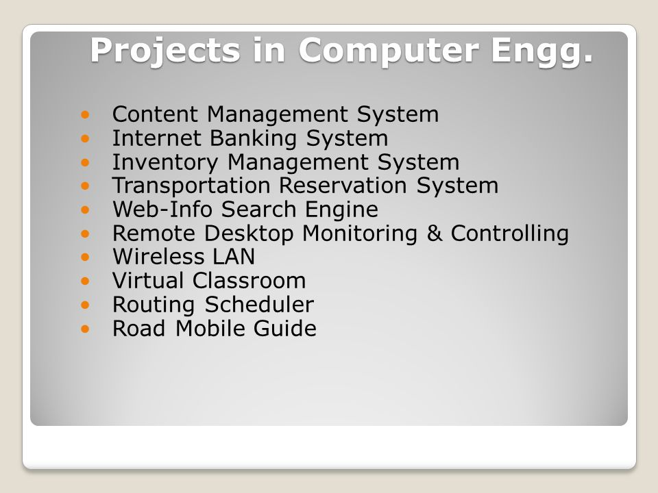 Projects in Computer Engg.