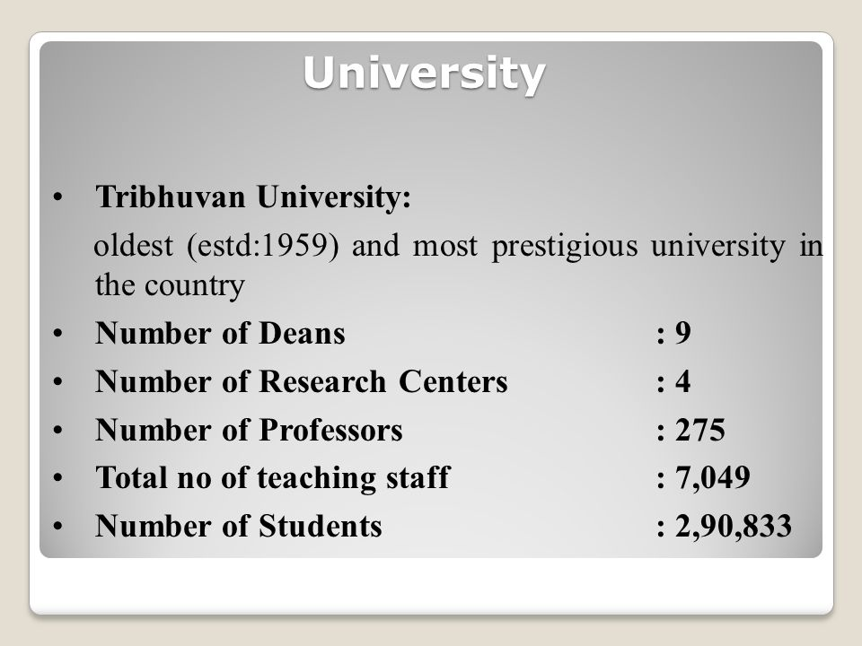University Tribhuvan University: oldest (estd:1959) and most prestigious university in the country Number of Deans: 9 Number of Research Centers: 4 Number of Professors: 275 Total no of teaching staff : 7,049 Number of Students: 2,90,833