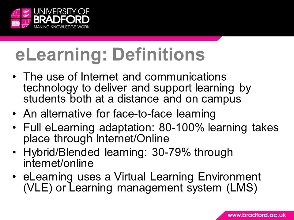 The use of Internet and communications technology to deliver and support learning by students both at a distance and on campus An alternative for face