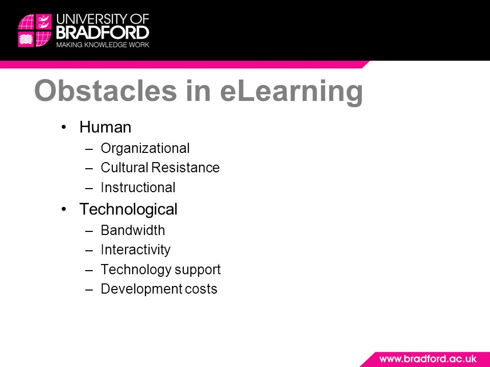 Obstacles in eLearning Human –Organizational –Cultural Resistance –Instructional Technological –Bandwidth –Interactivity –Technology support –Developm