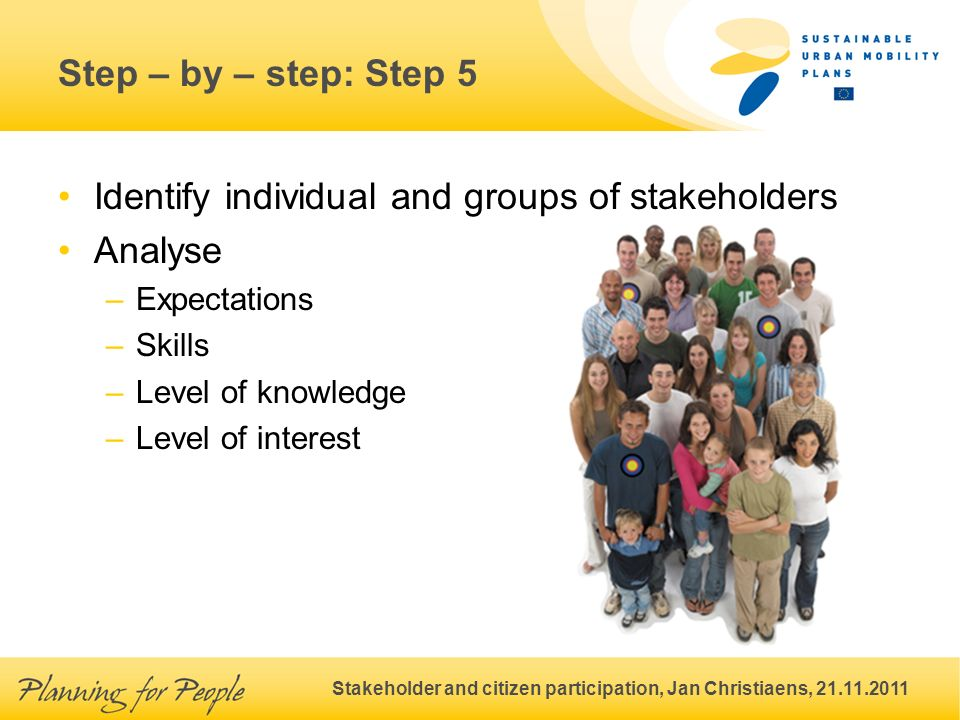 Stakeholder and citizen participation, Jan Christiaens, 21.11.2011 Step – by – step: Step 5 Identify individual and groups of stakeholders Analyse –Expectations –Skills –Level of knowledge –Level of interest