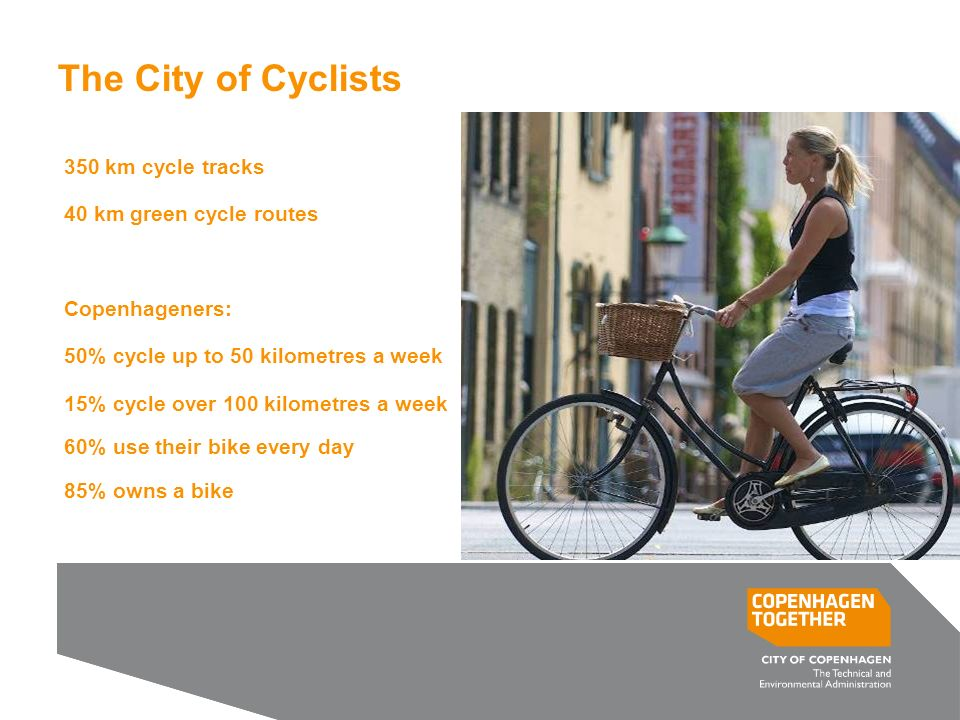 Tilføj præsentationens titel i Indsæt/ Sidehoved og Sidefod 13 The City of Cyclists 350 km cycle tracks 40 km green cycle routes Copenhageners: 50% cycle up to 50 kilometres a week 15% cycle over 100 kilometres a week 60% use their bike every day 85% owns a bike