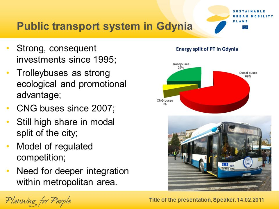 Title of the presentation, Speaker, 14.02.2011 Public transport system in Gdynia Strong, consequent investments since 1995; Trolleybuses as strong ecological and promotional advantage; CNG buses since 2007; Still high share in modal split of the city; Model of regulated competition; Need for deeper integration within metropolitan area.