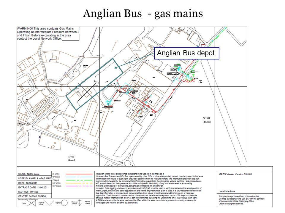 Anglian Bus - gas mains Anglian Bus depot