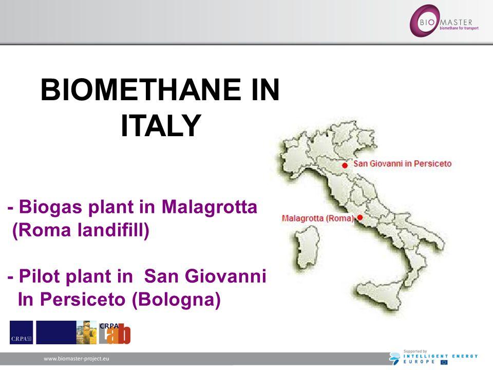BIOMETHANE IN ITALY - Biogas plant in Malagrotta (Roma landifill) - Pilot plant in San Giovanni In Persiceto (Bologna)