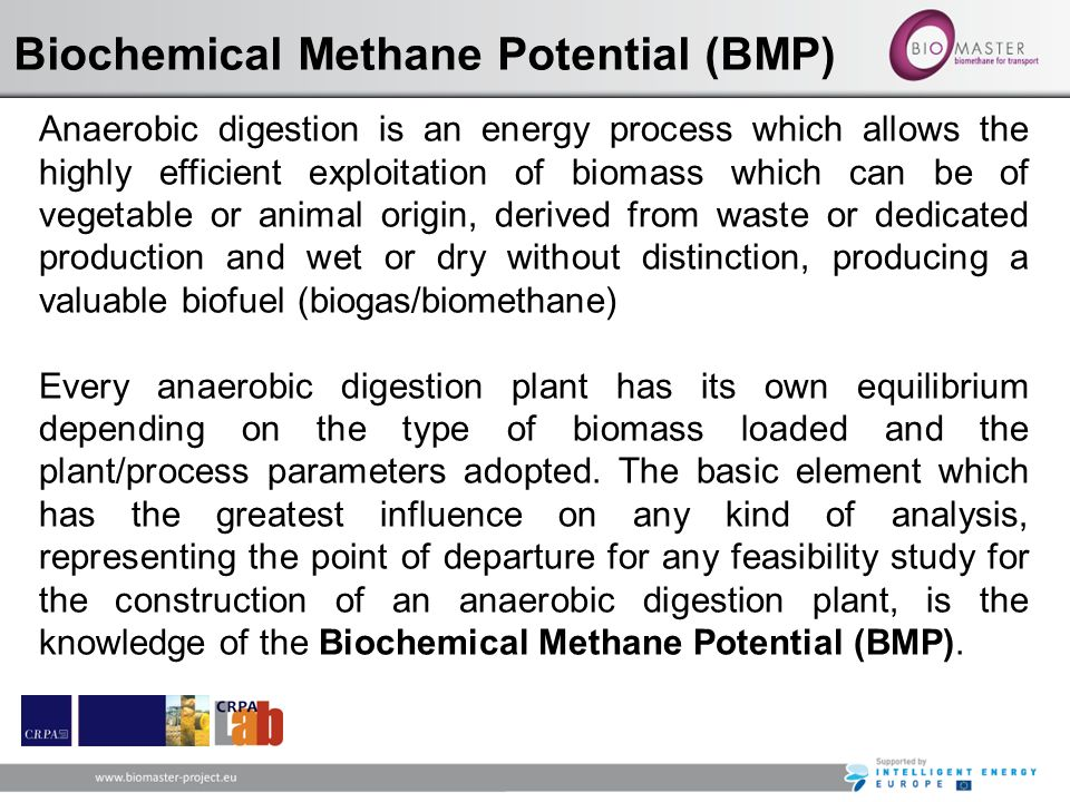 Biochemical Methane Potential (BMP) Anaerobic digestion is an energy process which allows the highly efficient exploitation of biomass which can be of