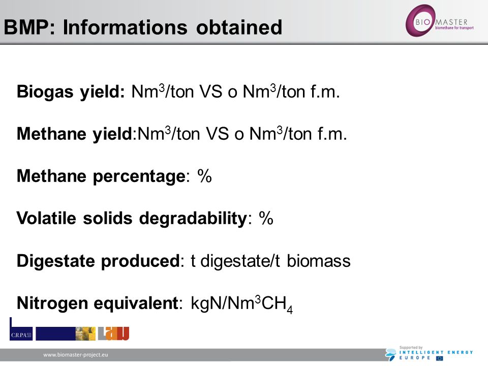 BMP: Informations obtained Biogas yield: Nm 3 /ton VS o Nm 3 /ton f.m. Methane yield:Nm 3 /ton VS o Nm 3 /ton f.m. Methane percentage: % Volatile soli