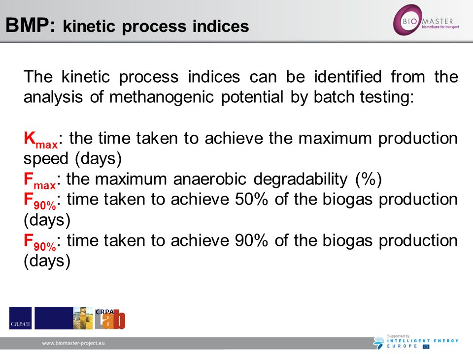 BMP: kinetic process indices The kinetic process indices can be identified from the analysis of methanogenic potential by batch testing: K max : the t