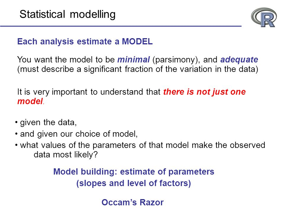 You want the model to be minimal (parsimony), and adequate (must describe a significant fraction of the variation in the data) It is very important to understand that there is not just one model.