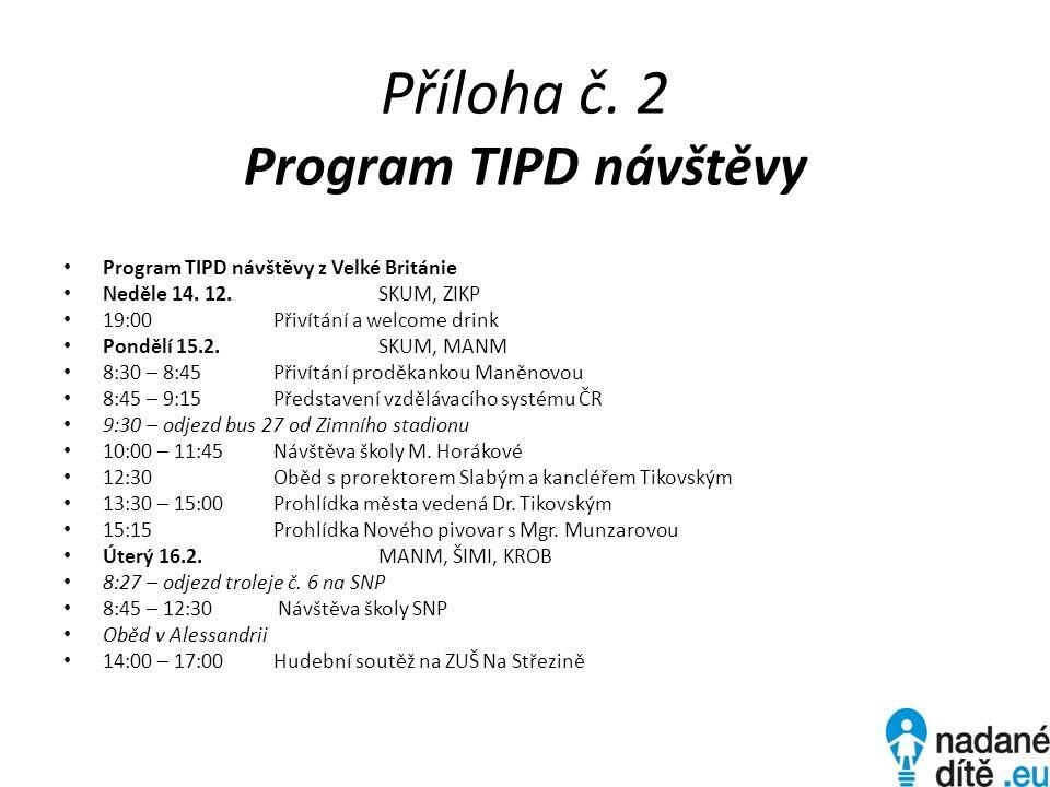 Příloha č. 2 Program TIPD návštěvy Program TIPD návštěvy z Velké Británie Neděle 14.