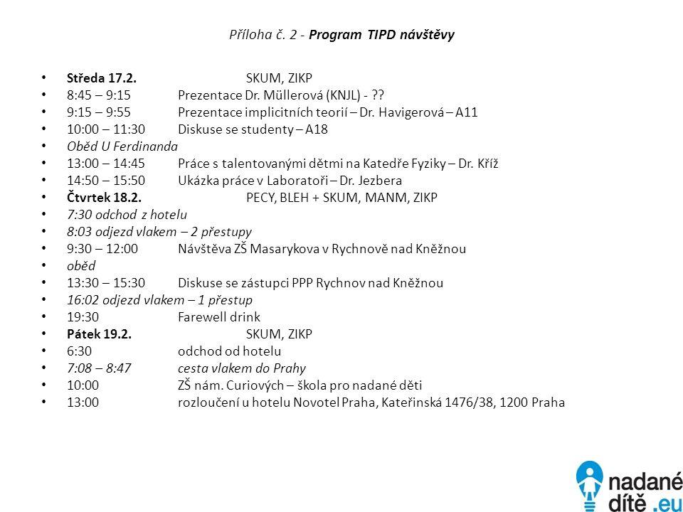 Příloha č. 2 - Program TIPD návštěvy Středa 17.2.SKUM, ZIKP 8:45 – 9:15Prezentace Dr.