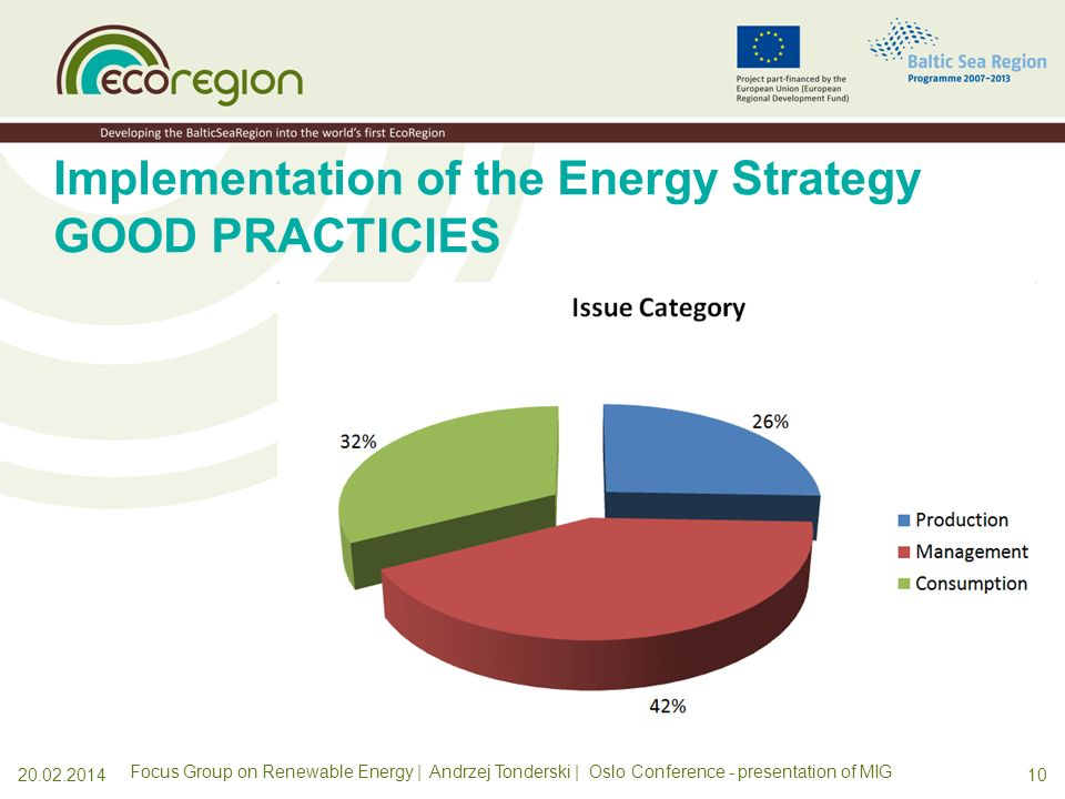 Implementation of the Energy Strategy GOOD PRACTICIES Energy - Efficiency: Metering of energy consumption Energy - Bioenergy from waste: Biogas upgrading facility Energy – Energy for transport: Compressed Natural Gas (CNG) Energy - Bioenergy from waste: Installation for collection and utilization of landfill gas Energy - RES for buildings: Solar panels on residential buildings Renewable Energy Sources: Wind power - Offshore wind farm Energy - Planning: Sustainable Energy Action Plans for urban areas Energy - Energy from waste: Inceneration Renewable Energy Sources: Wave energy - innovative system for power plant Energy - Efficiency: Reconstruction of an apartment building Renewable Energy Sources: Wind energy - Planning of impact on birds Energy - Planning: Sustainable Energy Action Plans in rural municipalities Energy - Efficiency: Renovation of apartment building Energy - Bioenergy from waste: Biogas production model Energy - RES for transport: Hydrogen fuel Energy - RES for buildings: Biomass fired district - usage of excess heat for cooling Energy - RES for buildings: Biogas Village managed by local cooperative Energy - Bioenergy from waste: Pilot agricultural biogas plant Energy - Efficiency: city lighting Energy - RES for transport: E-mobility (Electric Vehicles) Energy - Education: Educational and Competence Centre for bioenergy Energy - Bioenergy from waste: Co-digestion of municipal waste & energy crops Energy - Network: Centre for environmental technology Energy Efficiency: Commercial use of by-products Energy - Low-energy: wooden buildings Renewable combined heat and power (CHP) generation in Neustrelitz Renewable Energy supply for the village of Feldheim Forest - Recycling: Wood ash Forest - Bioenergy: Wood fuel development Industry - Innovations: Climate technologies School education - Energy: Measurement and reduction of energy consumption Industry - Innovations: Competition for Environmental Innovation Transport - Planning: Sustainable Urban Transport